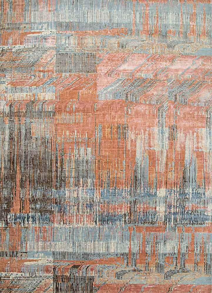 SRB-709 Pearl Blue/Copper Tan blue wool and bamboo silk hand knotted Rug