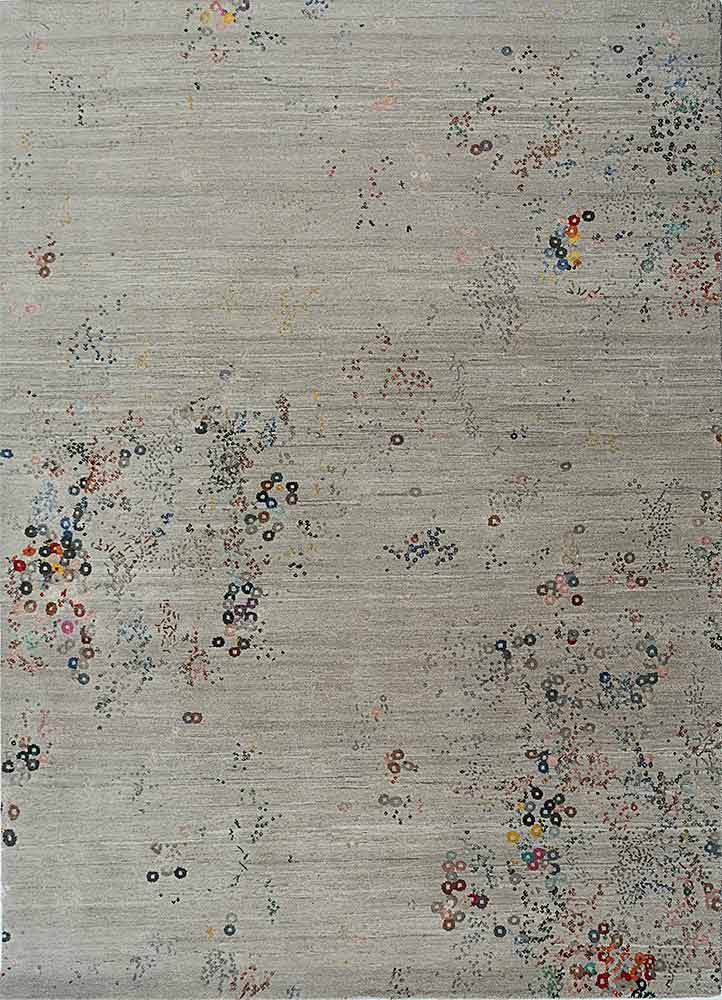 SRB-723 Classic Gray/Skyline Blue grey and black wool and bamboo silk hand knotted Rug