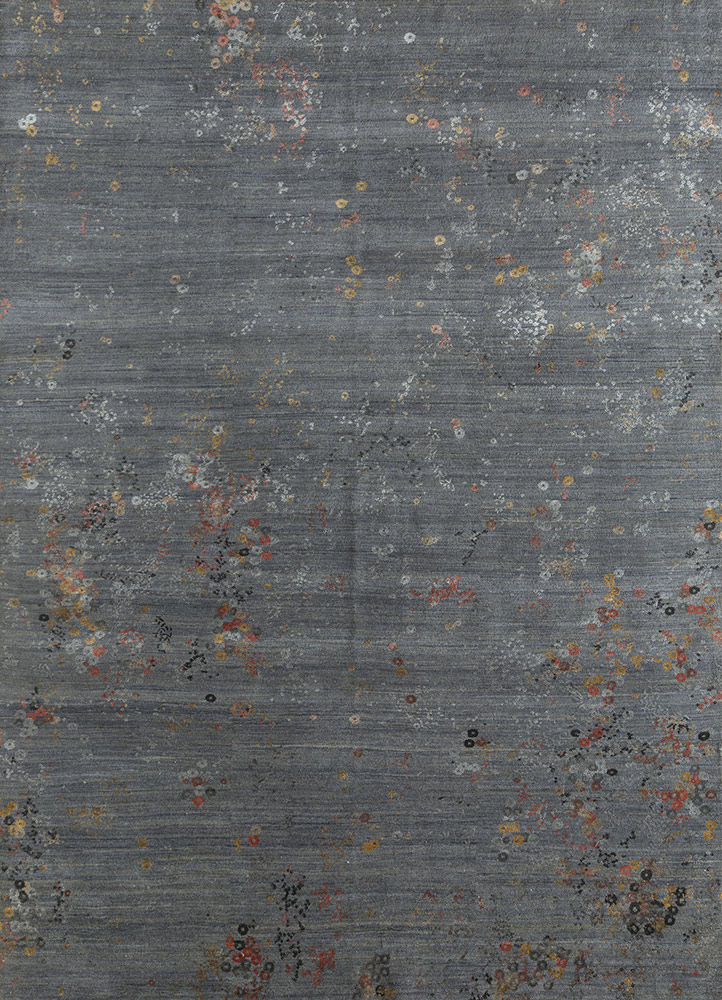 hidden by kavi grey and black wool and bamboo silk hand knotted Rug - HeadShot