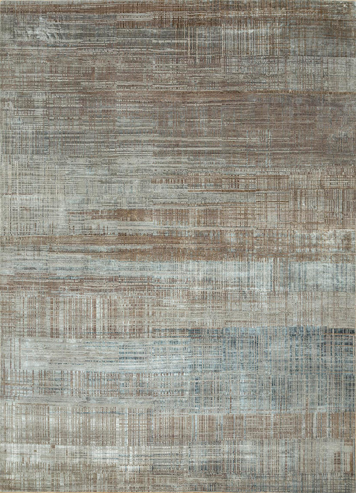 SRB-724 Classic Gray/Mink grey and black wool and bamboo silk hand knotted Rug