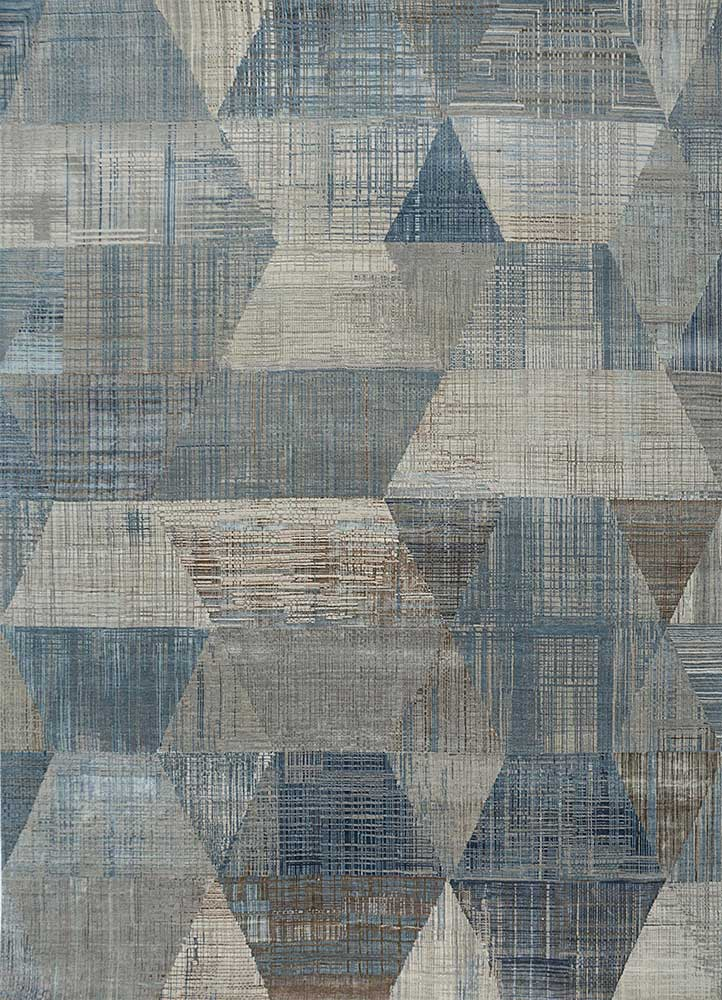 unstring by kavi blue wool and bamboo silk hand knotted Rug - HeadShot