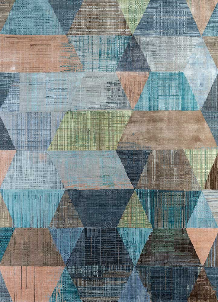 SRB-730 Capri/Peach Bloom blue wool and bamboo silk hand knotted Rug