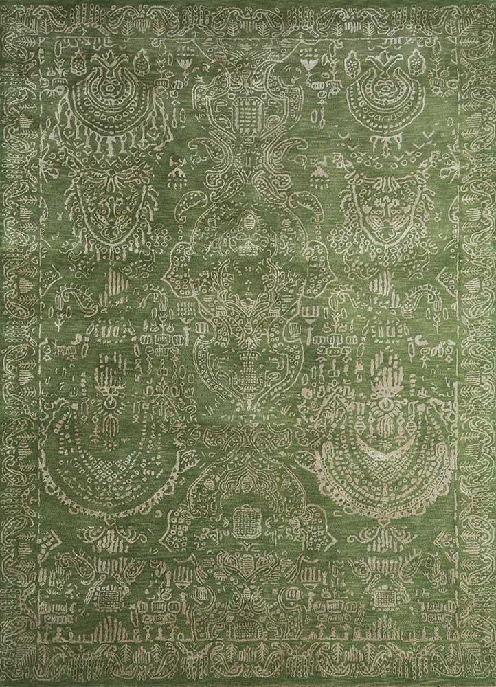 kilan green wool and viscose hand tufted Rug - HeadShot