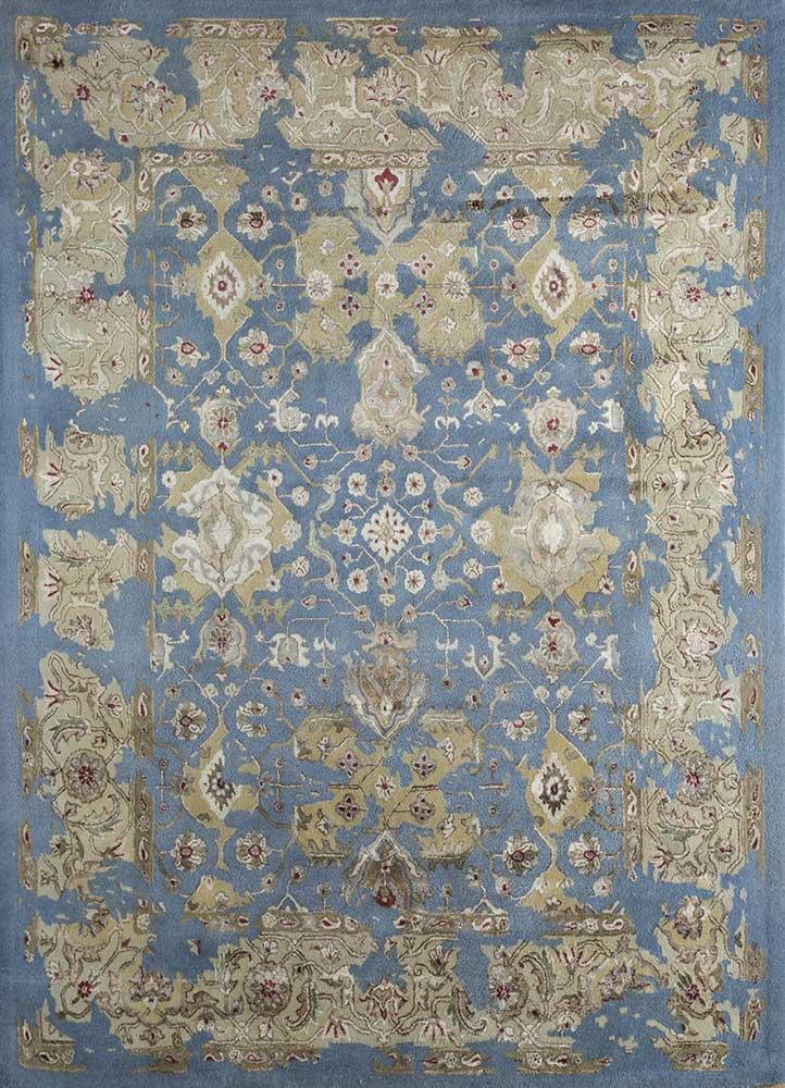 kilan blue wool and viscose hand tufted Rug - HeadShot