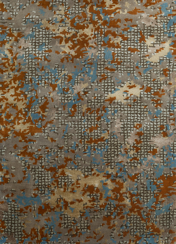 transcend gold wool and viscose hand tufted Rug - HeadShot