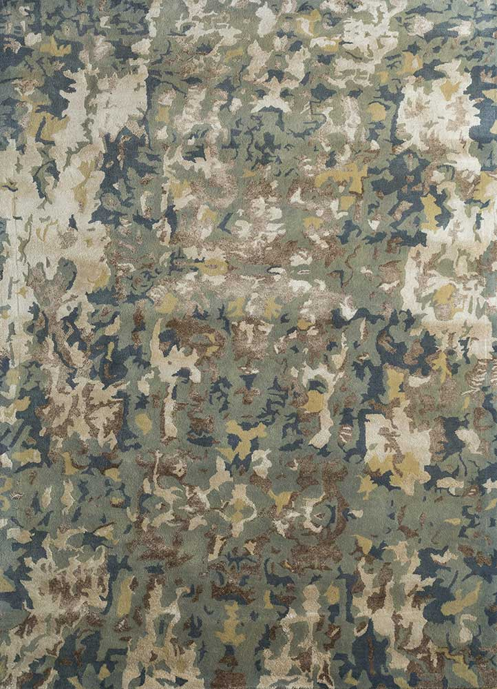 transcend blue wool and viscose hand tufted Rug - HeadShot