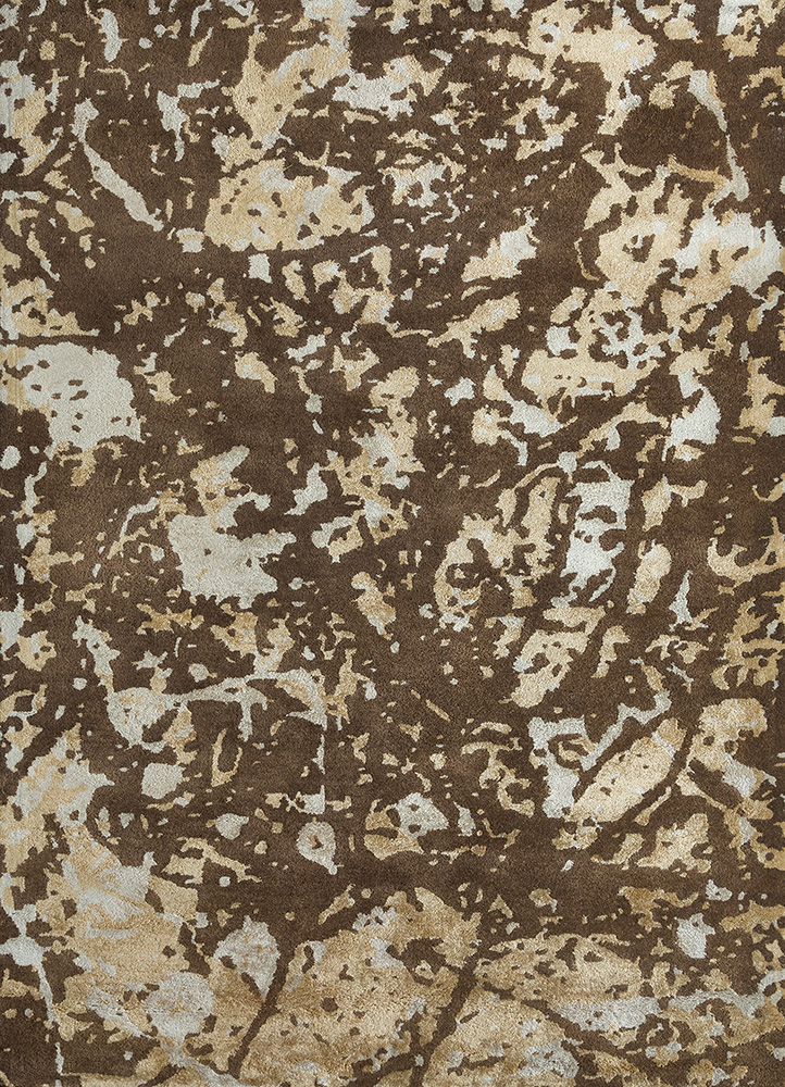 transcend beige and brown wool and viscose hand tufted Rug - HeadShot