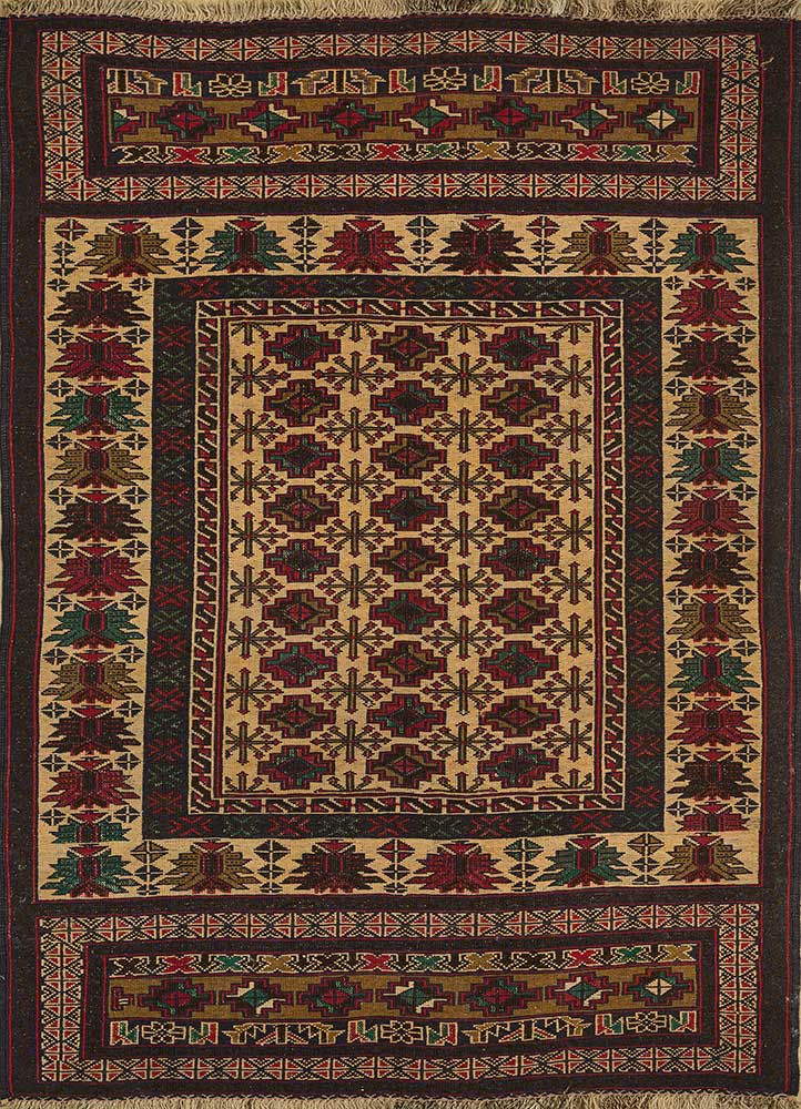 vintage gold wool hand knotted Rug - HeadShot