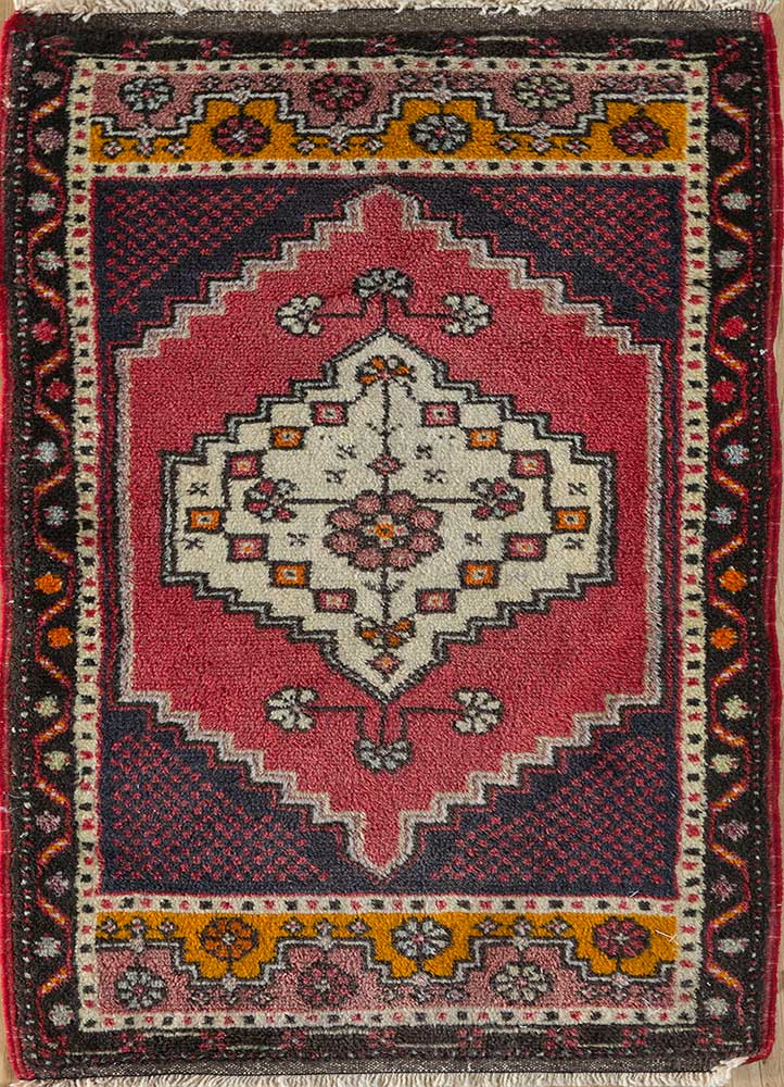 vintage red and orange wool hand knotted Rug - HeadShot