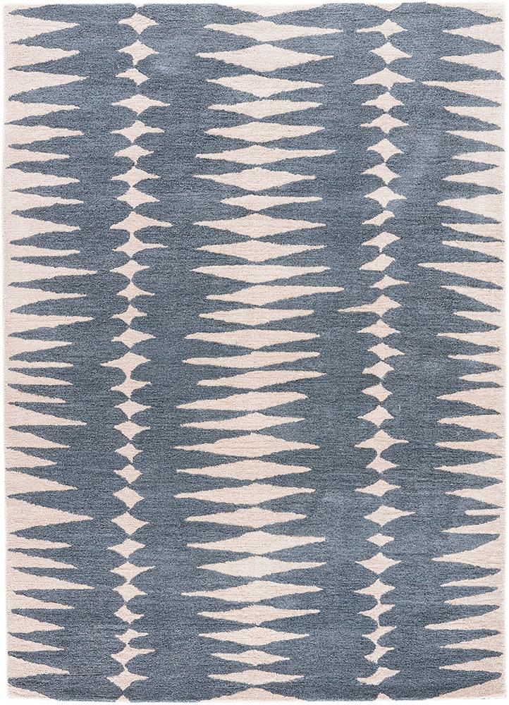 en casa by luli sanchez blue wool hand tufted Rug - HeadShot