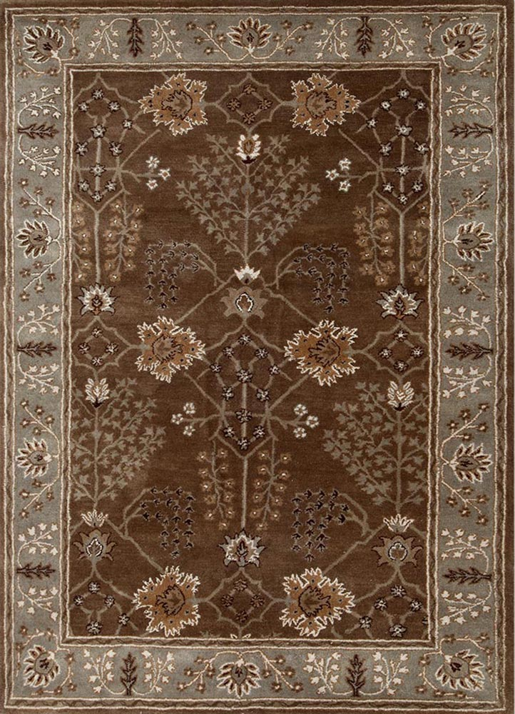TAC-966 Medium Brown/Silver Gray beige and brown wool hand tufted Rug