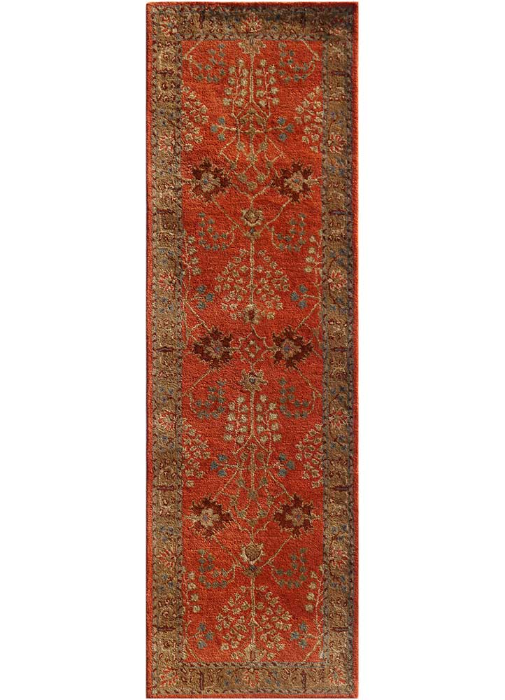 mythos red and orange wool hand tufted Rug - HeadShot