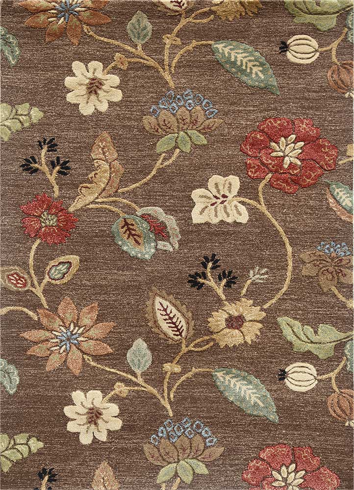 TAQ-104 Cocoa Brown/Cocoa Brown beige and brown wool and viscose hand tufted Rug