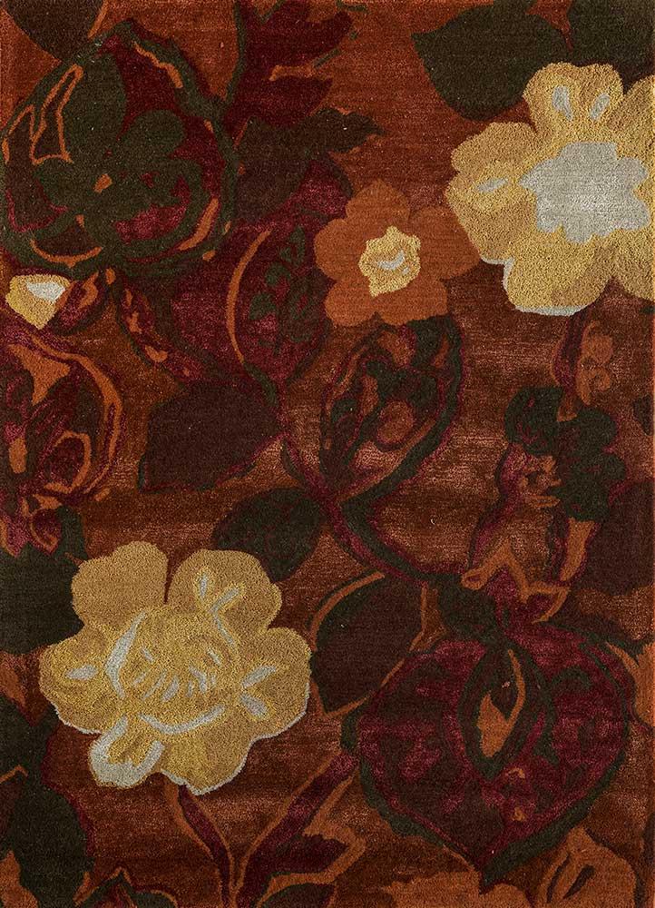 hacienda red and orange wool and viscose hand tufted Rug - HeadShot