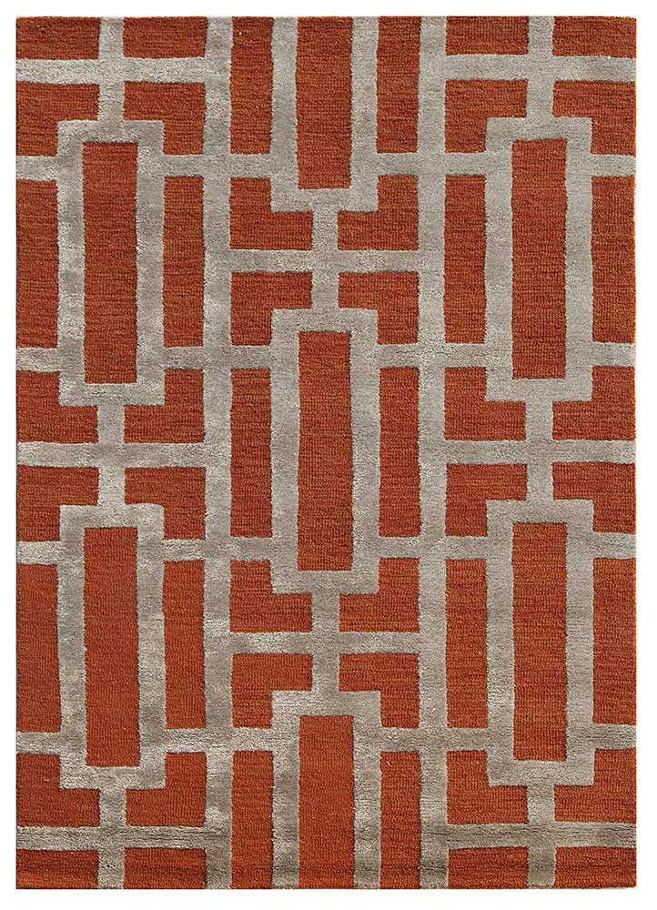 contour red and orange wool and viscose hand tufted Rug - HeadShot