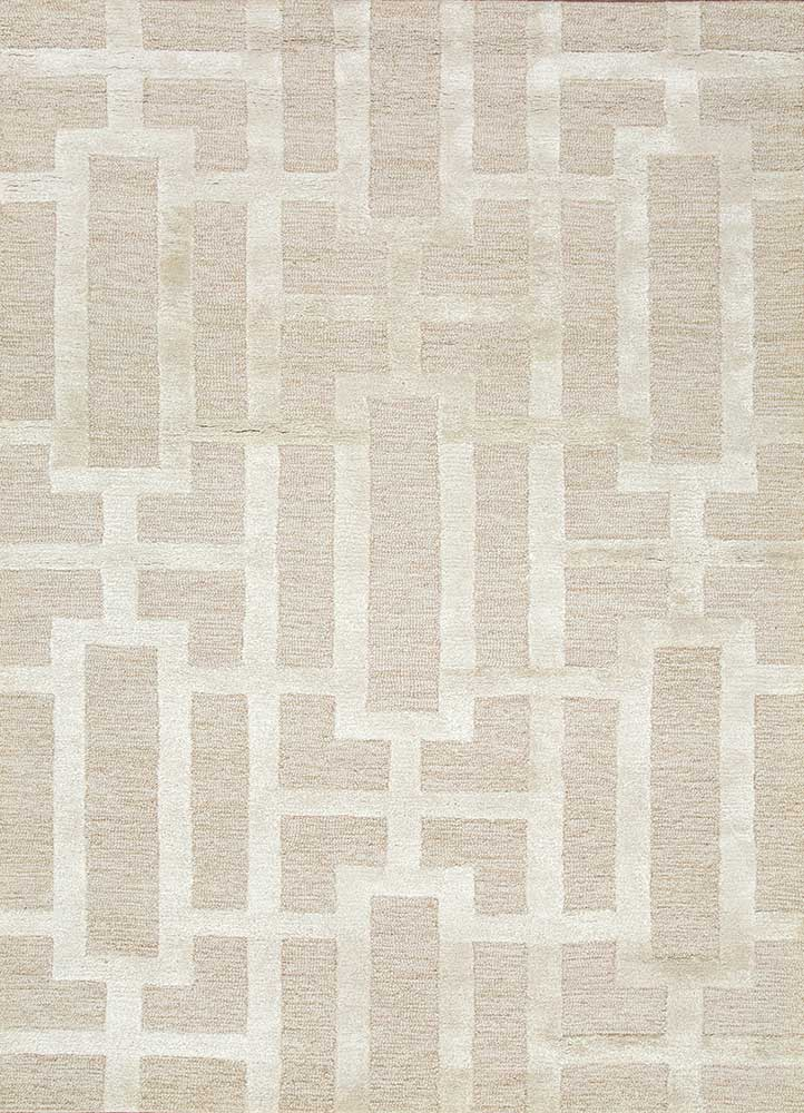 TAQ-229 Beige/Antique White beige and brown wool and viscose hand tufted Rug