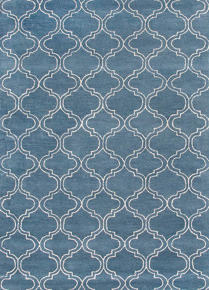 TAQ-230 Aegean Blue/Aegean Blue blue wool and viscose hand tufted Rug