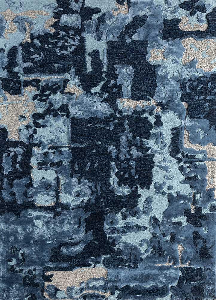 TAQ-4018 (MD) Navy/Dark Denim blue wool and viscose hand tufted Rug