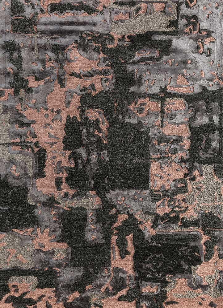 genesis grey and black wool and viscose hand tufted Rug - HeadShot