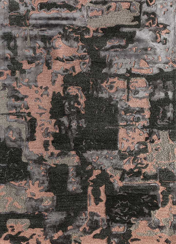 TAQ-4018 (MD) Black Olive/Light Coral grey and black wool and viscose hand tufted Rug