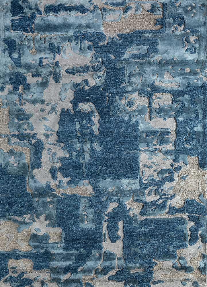 TAQ-4018 (MD) Dark Denim/Aegean Blue blue wool and viscose hand tufted Rug