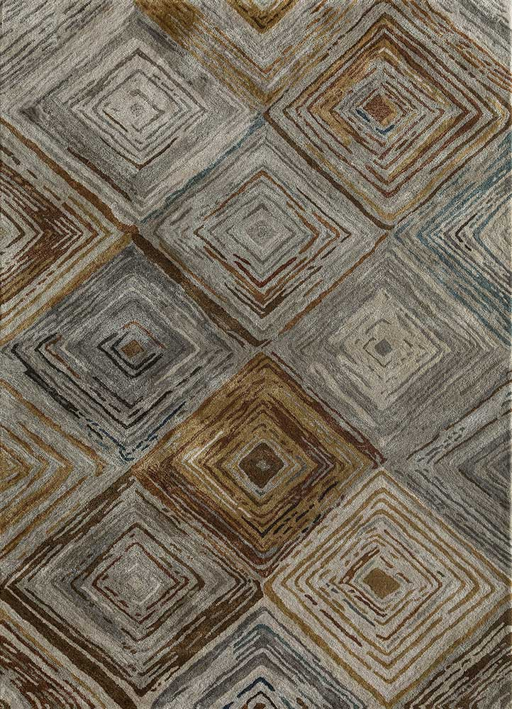 TAQ-4302(CS-01) Silver/Amber Gold beige and brown wool and viscose hand tufted Rug