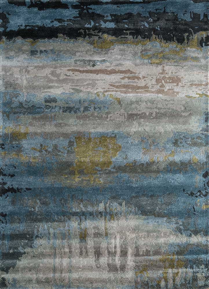 genesis blue wool and viscose hand tufted Rug - HeadShot