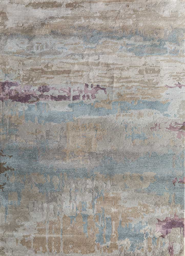 TAQ-4304 (MD) Antique White/Skyline Blue ivory wool and viscose hand tufted Rug