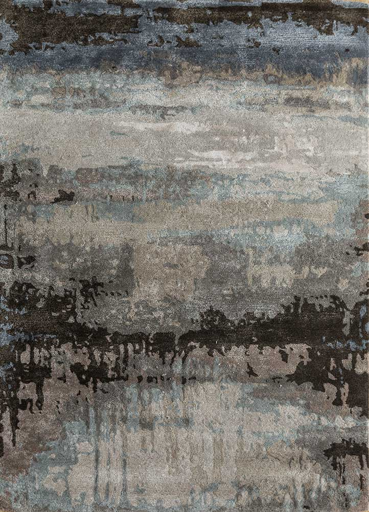 TAQ-4304 Silver/Charcoal Slate beige and brown wool and viscose hand tufted Rug