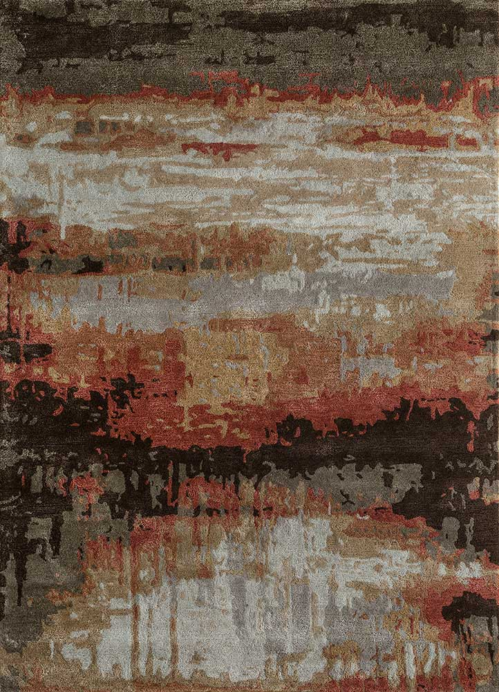 TAQ-4304 Oyster/Soft Coral ivory wool and viscose hand tufted Rug