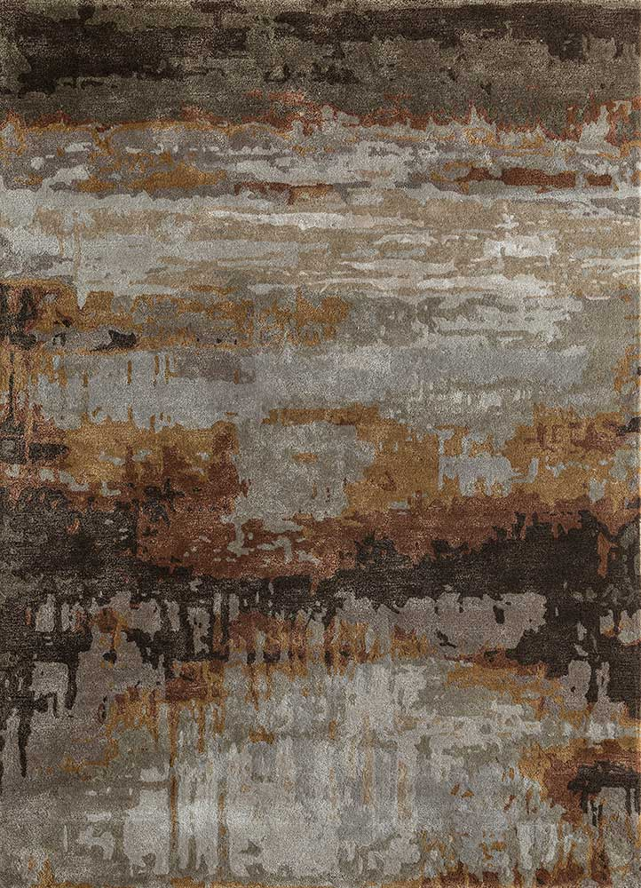 TAQ-4304 Oyster/Terracotta ivory wool and viscose hand tufted Rug