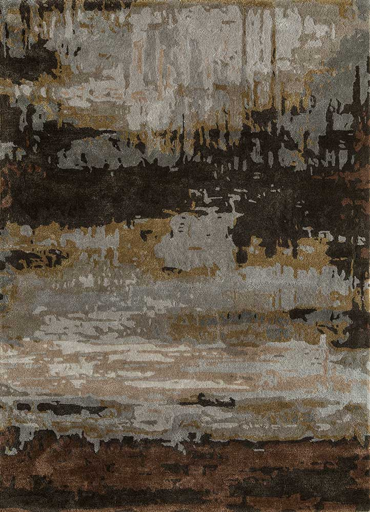 TAQ-4304 Dark Taupe/Dark Brown grey and black wool and viscose hand tufted Rug