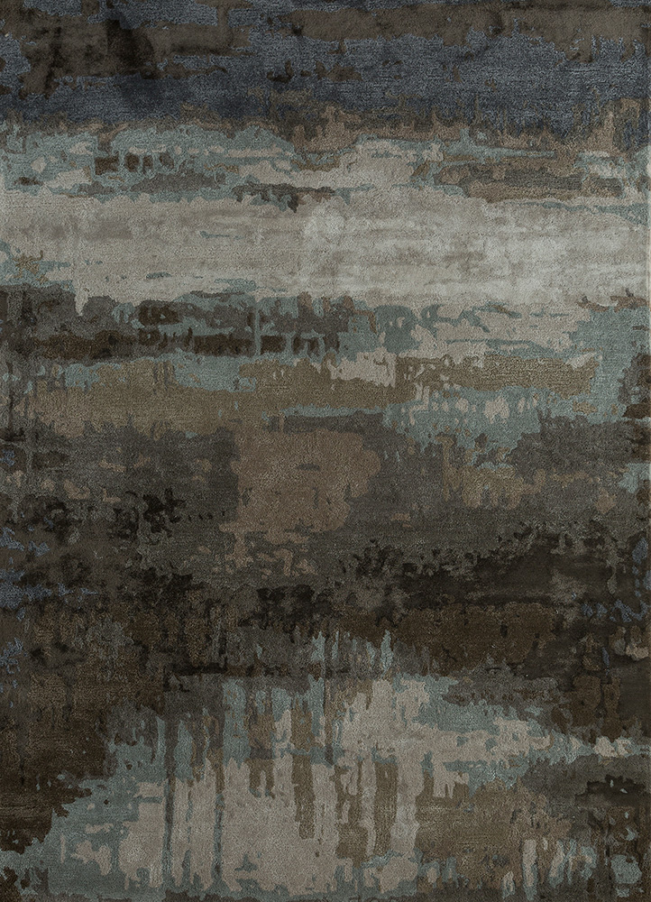 TAQ-4304 Charcoal Slate/Silver grey and black wool and viscose hand tufted Rug