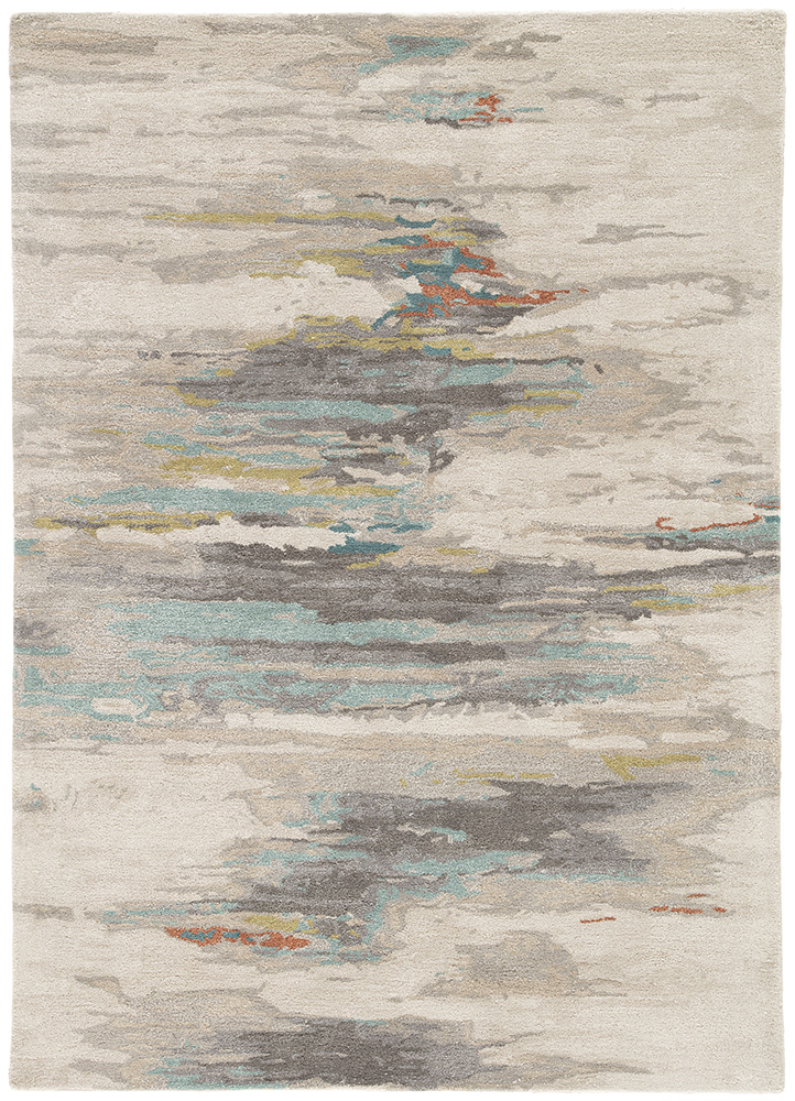 TAQ-4305 Antique White/Light Turquoise ivory wool and viscose hand tufted Rug