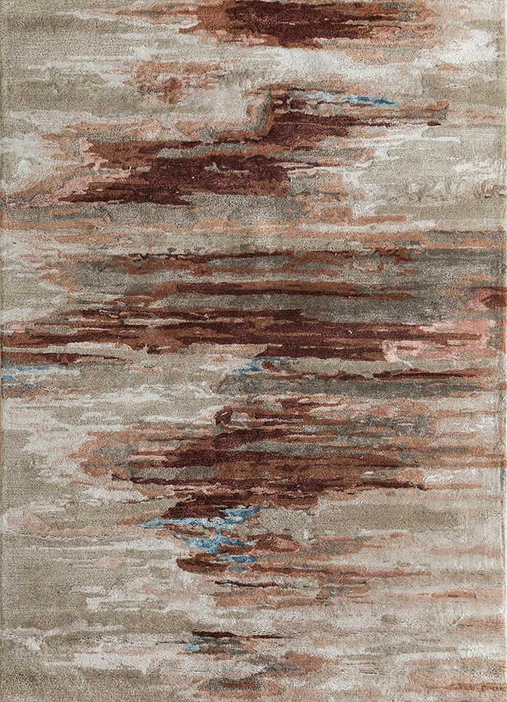 TAQ-4305 Beige/Apricot beige and brown wool and viscose hand tufted Rug