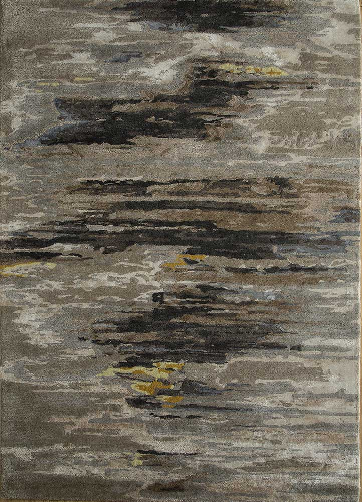 TAQ-4305 Silver Gray/Medium Gray beige and brown wool and viscose hand tufted Rug