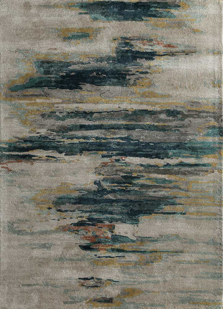 TAQ-4305 Antique White/Teal Blue ivory wool and viscose hand tufted Rug