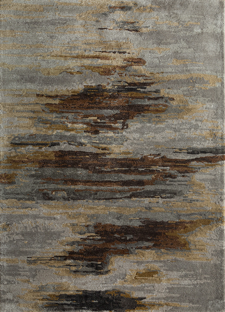 TAQ-4305 Classic Gray/Leather Brown grey and black wool and viscose hand tufted Rug
