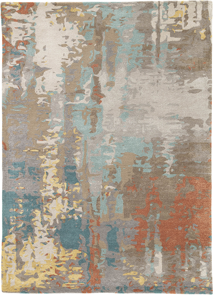 TAQ-4306 Antique White/Light Turquoise ivory wool and viscose hand tufted Rug