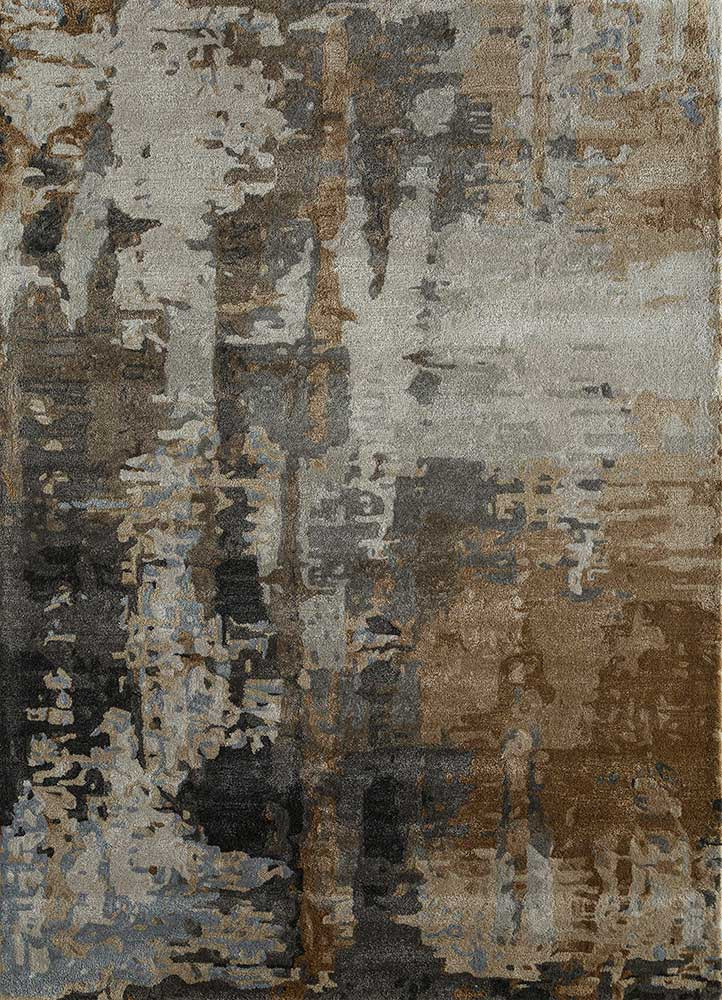 TAQ-4306 Medium Gray/Antique White grey and black wool and viscose hand tufted Rug