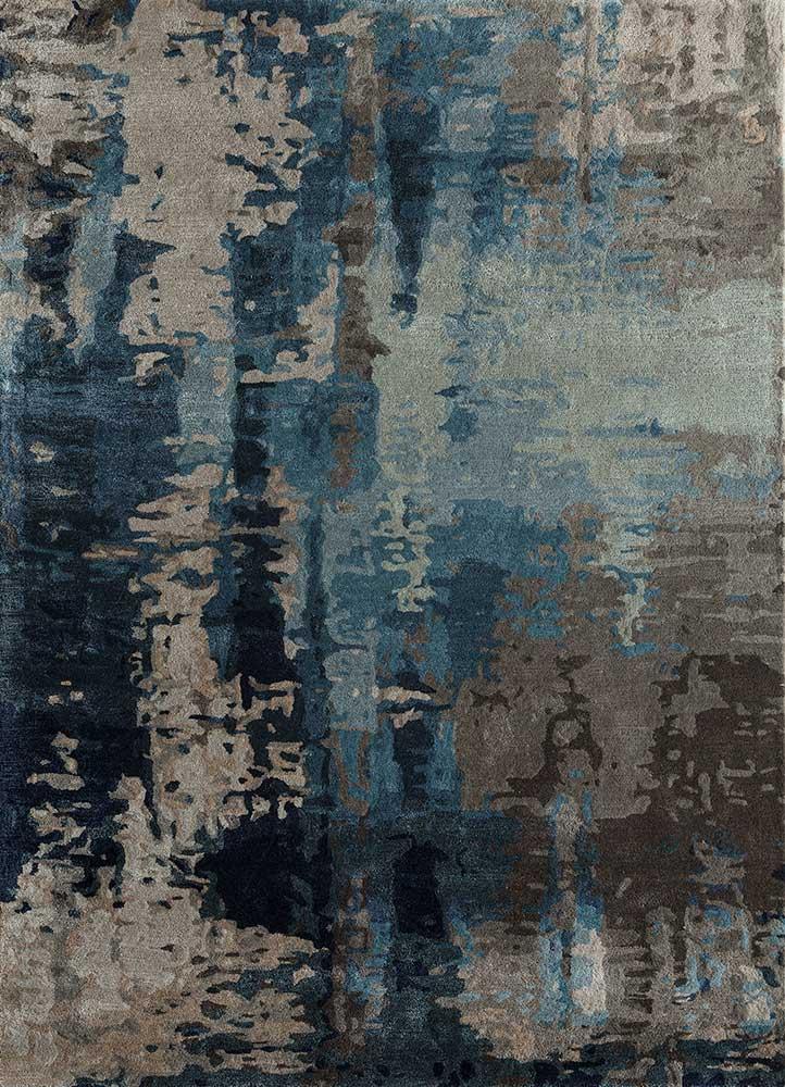 TAQ-4306 Dark Denim/Charcoal Slate blue wool and viscose hand tufted Rug