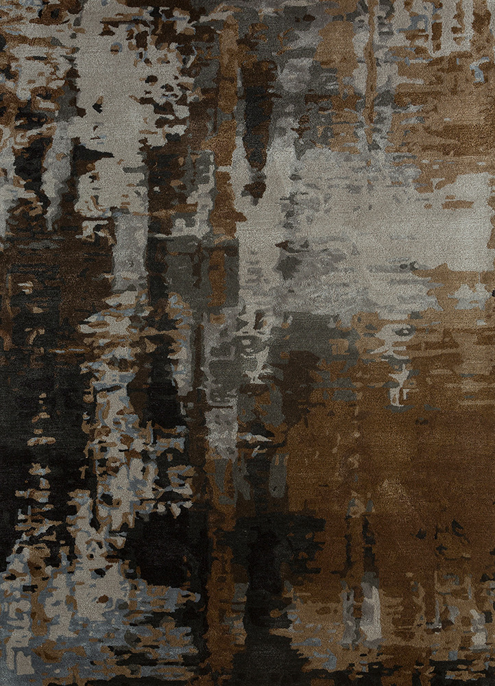 TAQ-4306 Charcoal Slate/Ginger Brown grey and black wool and viscose hand tufted Rug