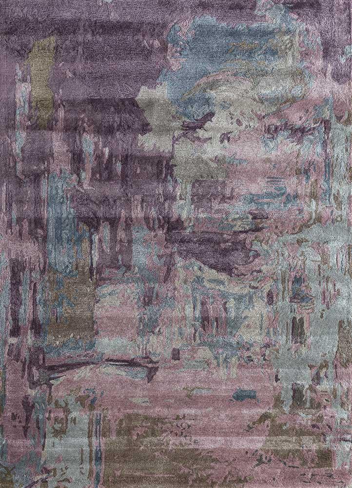 genesis pink and purple wool and viscose hand tufted Rug - HeadShot