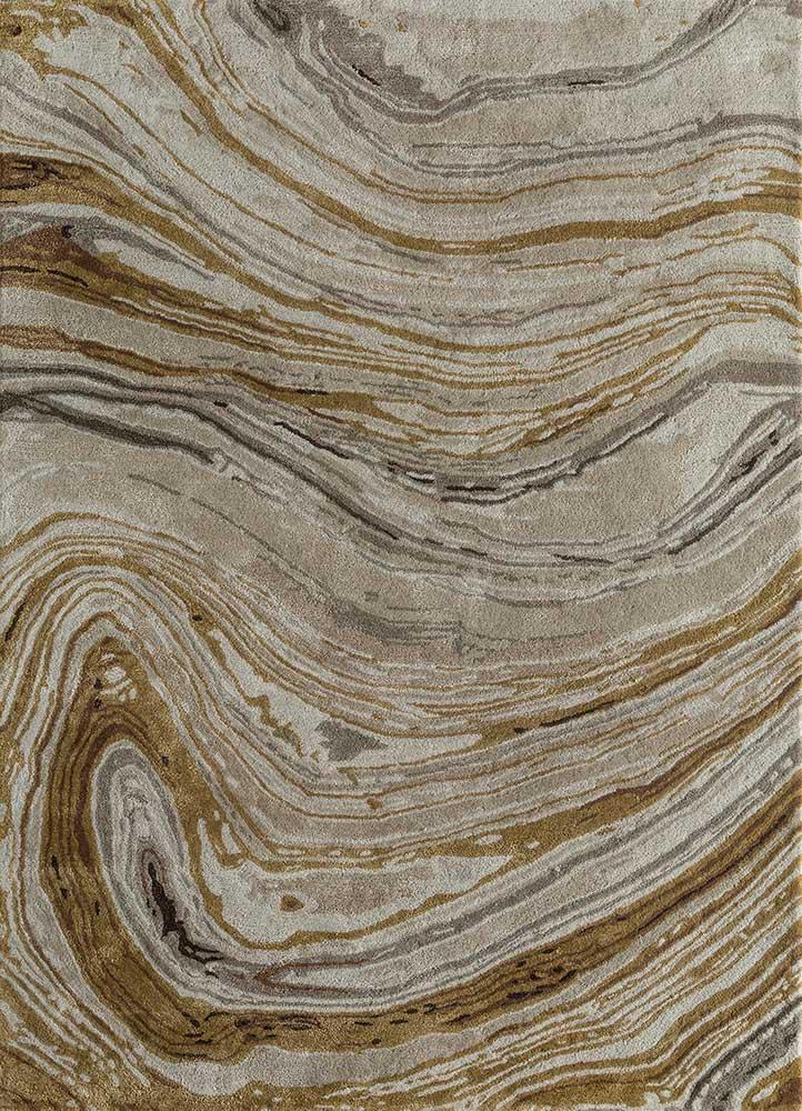 TAQ-4309 Dark Ivory/Amber Gold ivory wool and viscose hand tufted Rug