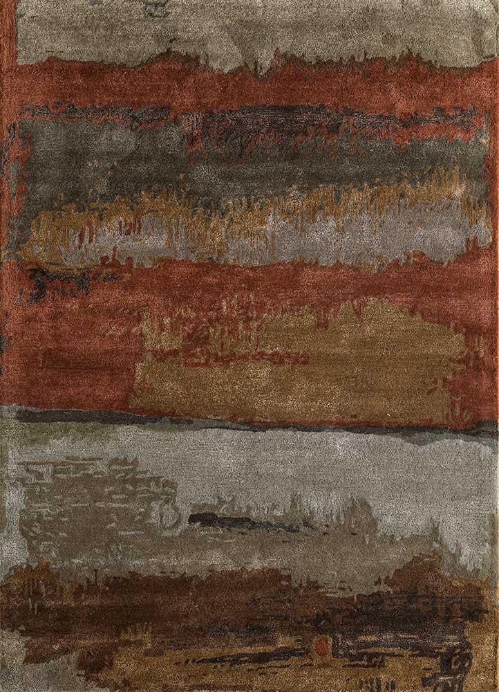 genesis red and orange wool and viscose hand tufted Rug - HeadShot