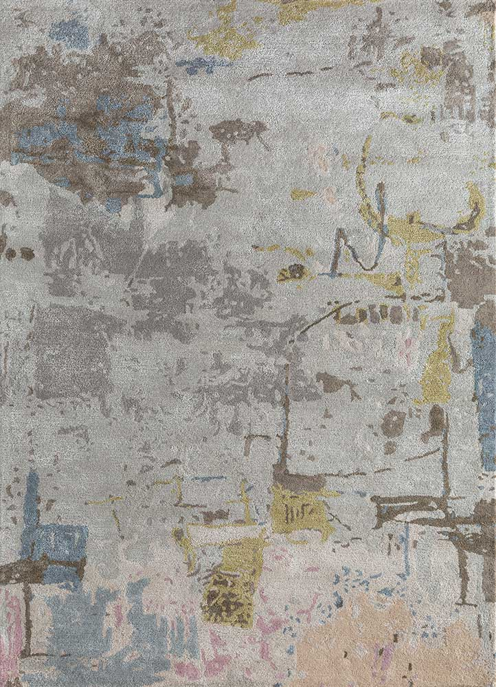 TAQ-4313 (MD) Antique White/Classic Gray ivory wool and viscose hand tufted Rug