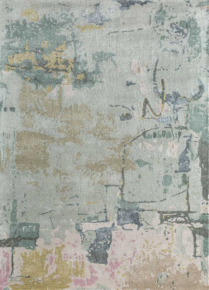 TAQ-4313 (MD) Spa Blue/Antique White blue wool and viscose hand tufted Rug