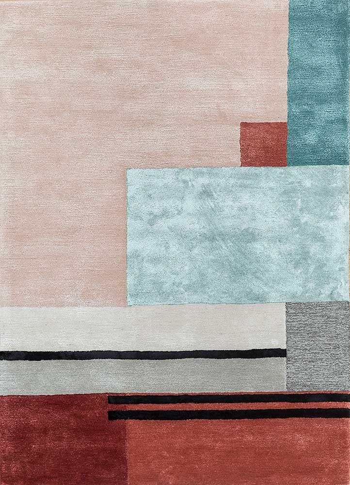 traverse red and orange wool and viscose hand tufted Rug - HeadShot