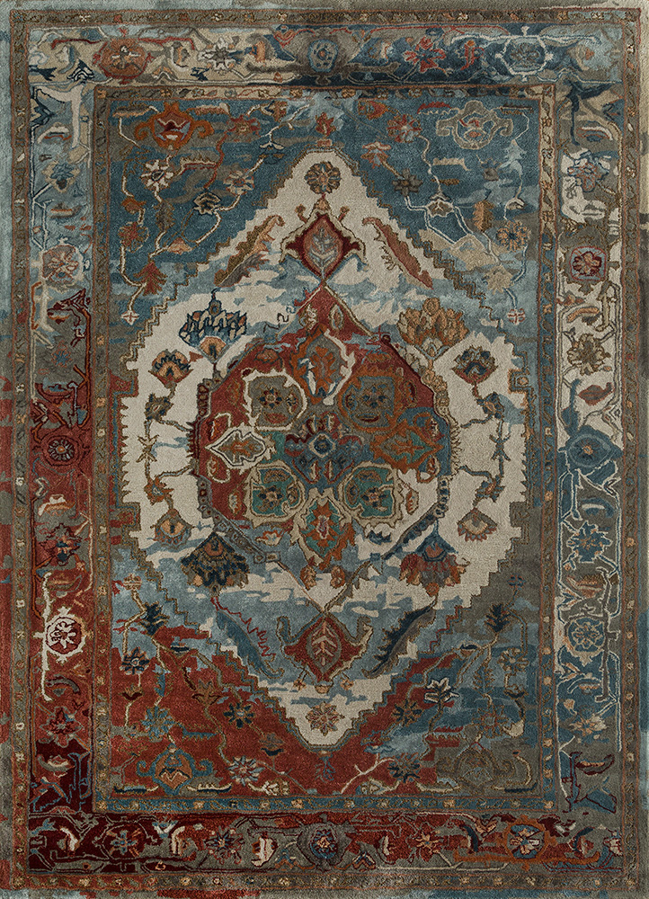 TAQ-637 Antique White/Soft Coral ivory wool and viscose hand tufted Rug
