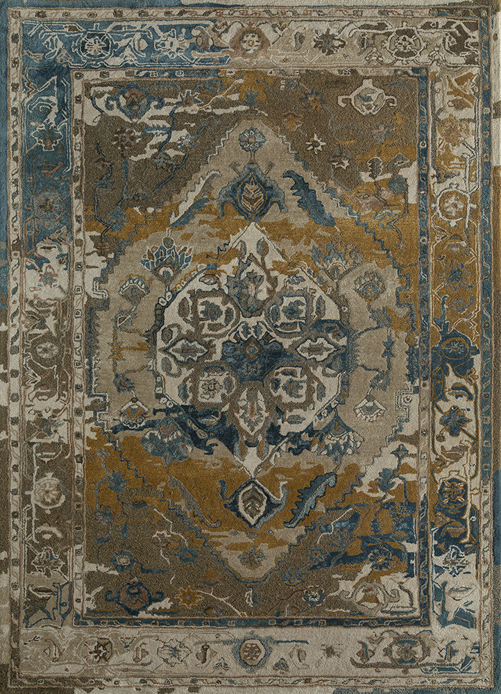 TAQ-637 Oyster/Aegean Blue ivory wool and viscose hand tufted Rug